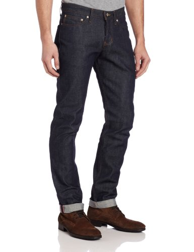 Naked & Famous Denim Men's WeirdGuy Low Rise Tapered Leg Jean In Dirty Fade Selvedge, Dirty Fade Selvedge, 30x35 - Dirty Wash Jeans