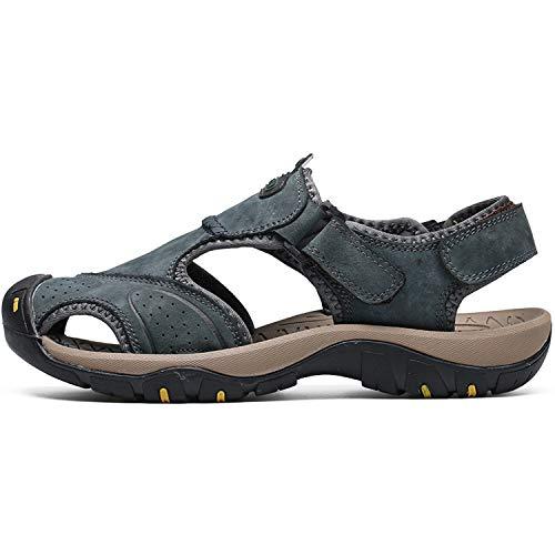 Men Sandals Brand Summer Genuine Leather Sandals Men Outdoor Beach Slippers,7238Blue,9