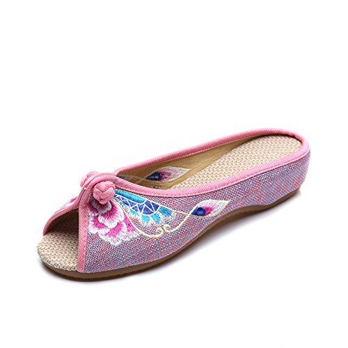 DESY Gestickte Schuhe, Sehnensohle, ethnischer Stil, weiblicher Flip Flop, Mode, bequem, Sandalen Pink