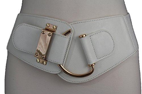 Buckle Belt Gold Bling (TFJ New Women's Wide Fashion Belt Hip High Waist Gold Metal Hook Buckle Plus M L Xl (White))