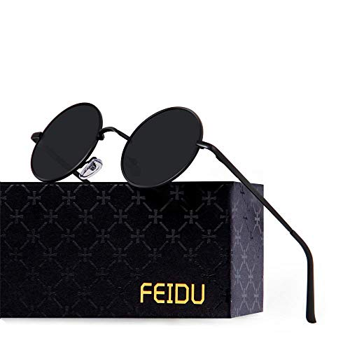 FEIDU-Men Round Retro Polarized Sunglasses Women Vintage Sunglasses FD3013 (Black/Black, 1.81)