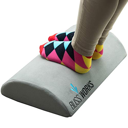 BlissWorks Ergonomic Foot Rest Cushion Under Desk | Portable and Lightweight Travel Footrest Cushions for Office Desk, Airplane and Computer Table | Comfortable Feet Rocker for Support and Circulation