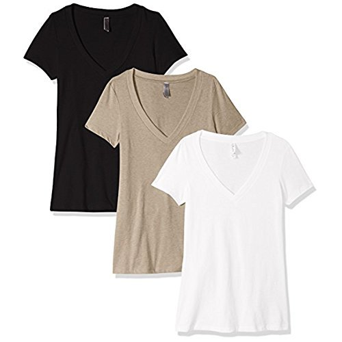 Clementine Apparel Women's Petite Plus Deep V Neck Tee (Pack of 3), Black/White/Stone Gray, L -