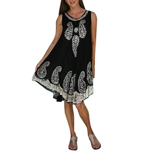 Women's Summer Casual Loose Tank top Dresses Sveless Print Swing ni Dress Beach Vest Dress Sundresses White