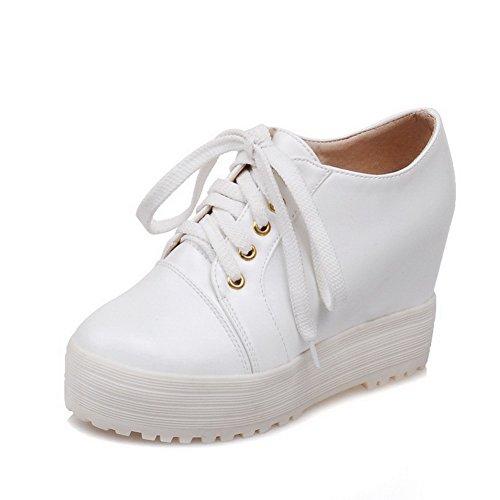 PU VogueZone009 Talon Rond Cuir Chaussures Lacet Légeres Femme Couleur à Blanc Haut Unie r8xrSqIgw