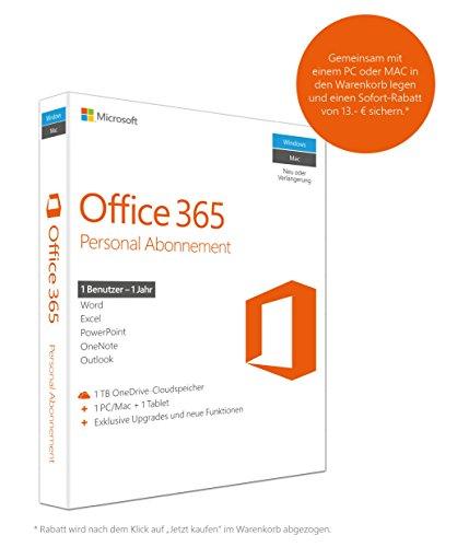 Microsoft Office 365 Personal - 1 PC/MAC - 1 Jahresabonnement - multilingual (Product Key Card ohne Datenträger)