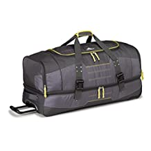 High Sierra Ultimate Access 36-Inch Drop-Bottom Wheeled Duffle, Mercury/Charcoal/Yellow, Checked, Large