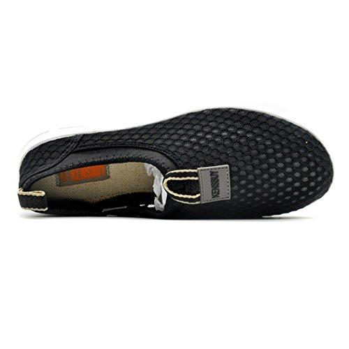 daillor Chaussures de maille à enfiler pour homme et femme, ultra léger respirant Chaussures de Course noir - Noir