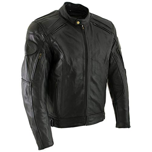Xelement B7366 'Executioner' Men's Black Leather Racer Jacket with X-Armor Protection - X-Large