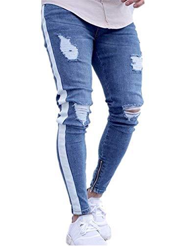 Di Mode Holes Con Destroyed Ripped Uomo Slim Fit Stretch Pantaloni Look Jeans Marca Bianca Denim Skinny Da Cher Biker Pants zq84v