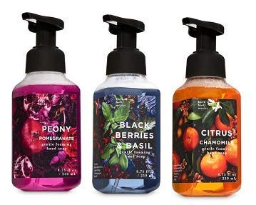 (Bath and Body Works 3 Pack Gentle Foaming Hand Soap. 8.75 Oz. Peony Pomegranate, Blackberries & Basil and Citrus Chamomille.)