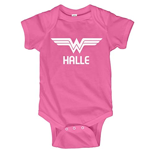 FUNNYSHIRTS.ORG Superhero Halloween Baby Halle: Infant Bodysuit Raspberry