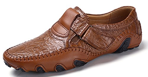 Shinysky Men's Casual Leather Driving Car Soft Flats Comfort Slip On Loafers Boat Shoes(chee8895Brown46)