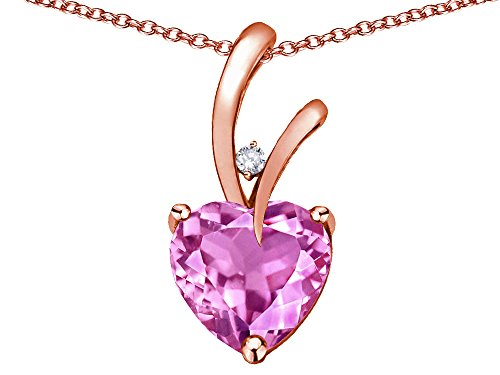 Star K Heart Shape 8mm Created Pink Sapphire Endless Love Pendant Necklace 14 kt Rose Gold