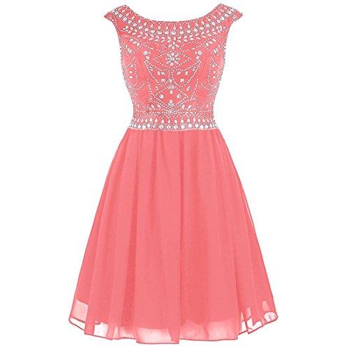 Dresses Short Beaded Coral Gowns Homecoming Luxury Women's 2016 Cap Prom Sleeve Fanciest xXfaAq