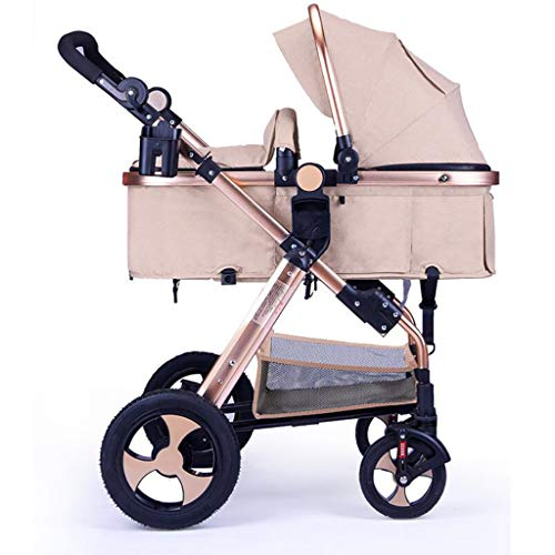 BABY CARRIAGE ZLMI Stroller Easy to Fold Collapsible Ultra-Light Portable High Landscape Four-Wheeled Two-Way Adjustable Stroller Fast Folding Easy to Fit 0-3 Years Old,K