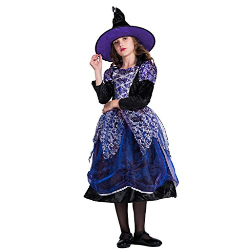 FantastCostume Child's Story Book Fancy Halloween Witch Costume Dress(Purple, Small)