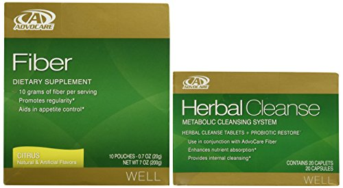 AdvoCare Herbal Cleanse & Fiber | Herbal Cleanse 20 Capsules & Fiber 10 Pouches