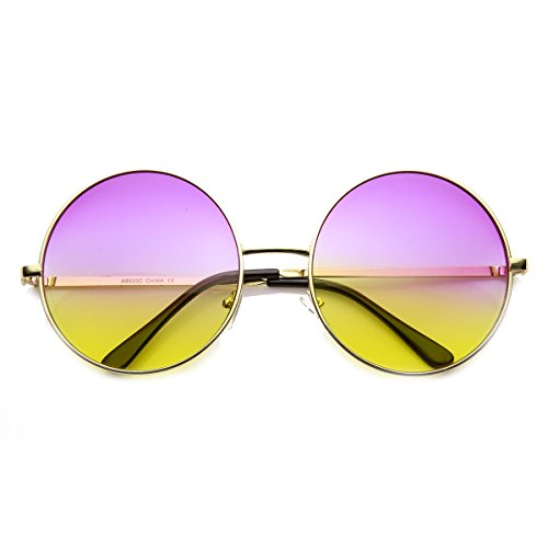 zeroUV - Womens Large Oversized Color Tinted Metal Circle Round Sunglasses (Gold - Sunglasses Fade Black