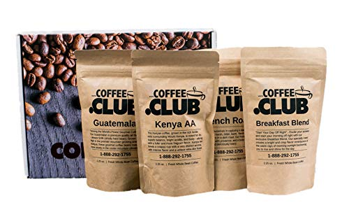 Coffee Club - The Ultimate Gourmet Coffee Bean Subscription Sampler Gift - Try 4 Coffees Handcrafted from Around the World! 1/2lb of Whole Coffee Beans