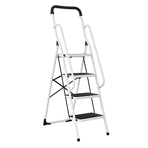 Safety 4 Step Ladder - KARMAS PRODUCT Folding 4 Step Ladder with Handrails for Home,Anti-slip Safty Steel Step Stool 300LB