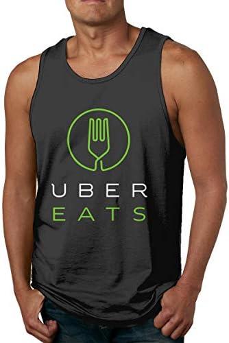 メンズ UBER EATS Tシャツ タンクトップ 袖なし トップス 夏服 筋トレ 綿 Tee