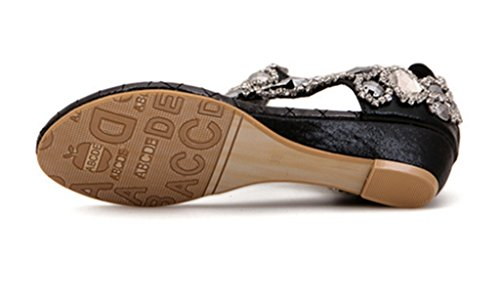 Crc Kvinners Stilig Romerske Stil Gnisten Rhinestone Komfortable Syntetiske Kiler Hæl Flip-flop Sandaler Svart