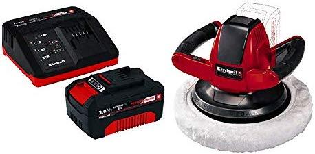 Einhell Power X-Change - Kit cargador con batería (18 V, 3.0 Ah, tiempo de carga de 60 minutos) + Pulidora para Coches CE-CB 18/254 Li - Solo 2500 RPM ...