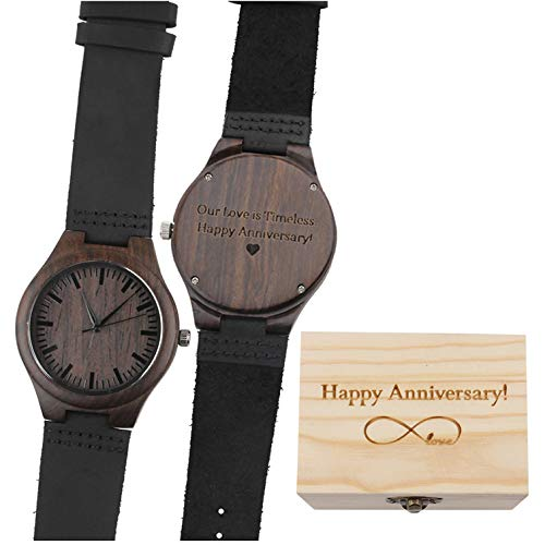 Our Love is Timeless. Happy Anniversary! - Black Leather Strap Quartz Movement Men's Watch Wood Unique Wedding Anniversary Gifts for Men - Anniversary Mens Watch