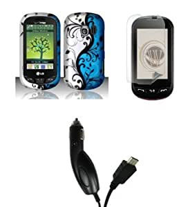 Bloutina LG Extravert (Verizon) Premium Combo Pack - Black Flower Vines on Blue and Silver Design Rubberized Shield Hard...