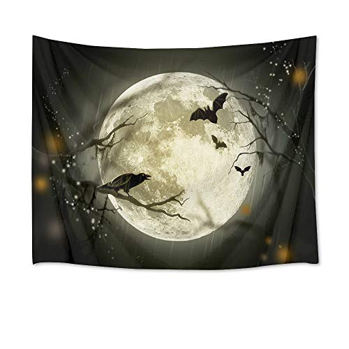 LB Halloween Full Moon Tapestry Wall Hanging Creepy Halloween Night Home Decor 3D Tapestry for Bedroom Living Room Dorm Wall Decor, 60 x 40 inches ()