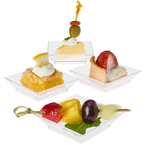"""Prextex Mini Dessert Plates 2.5""""x2.5"""" - 100 Sturdy Square Clear Mini Plastic Dessert Plates"""