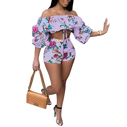 Women's 2 Piece Off Shoulder Ruffled Print Floral Smocked Crop Top and Shorts Set Purple