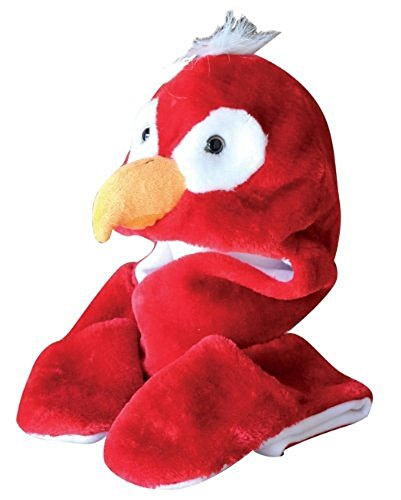 [Plush Faux Fur Animal Critter Hat Cap - Soft Warm Winter Headwear - Short with Ear Poms and Flaps & Long with Scarf and Mittens available (Red Parrot - 3pc Scarf &] (Parrot Head Hat)