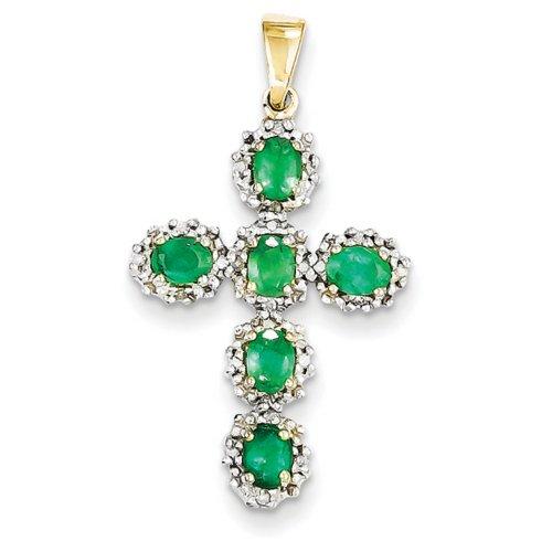 Icecarats Créatrice De Bijoux 14K Diamant Taille Émeraude Pendentif Croix