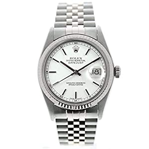 Best Epic Trends 41GFv3rGxOL._SS300_ Rolex Men's Datejust 16014 36mm Watch White Stick Dial 18k Gold Fluted Bezel (Certified Preowned)