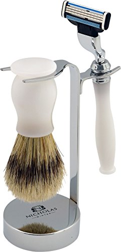 - Nicholas Winter 3 Piece White / Silver Traditional Shaving Set. Brush, Razor & Stand. Mach 3 Compatible