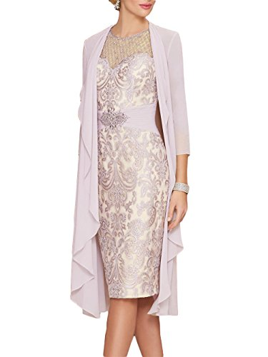 9b61e340c84df Newdeve Lace Mother of The Bride Dresses Rhinestone Belt with Chiffon Jacket