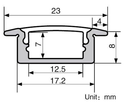 Aluminum Channel - LED Aluminum Extrusion 4101-100 U-shape for Flex/hard LED Strip Light White/milk Cover by Outline (Image #5)