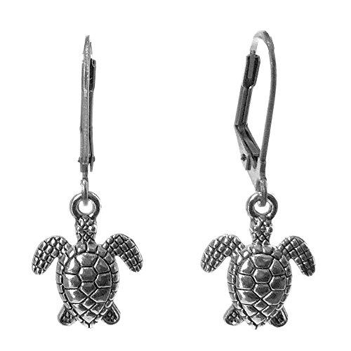 Sabai NYC Sea Turtle Charm Dangle Earrings on Stainless Steel Earwires (Leverback Sea Turtle) (Earrings Charm Turtle)