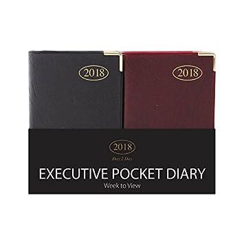 Tallon Day2day 2014 - Agenda de bolsillo, diseño ejecutivo con esquinas de metal, color rojo, negro y azul