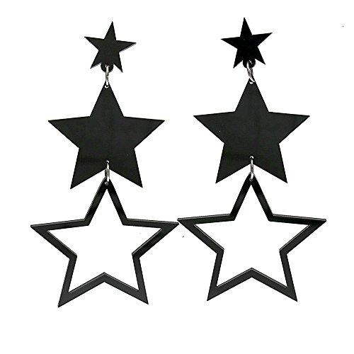80s Madonna Style Black Stars Drop Earrings for Women