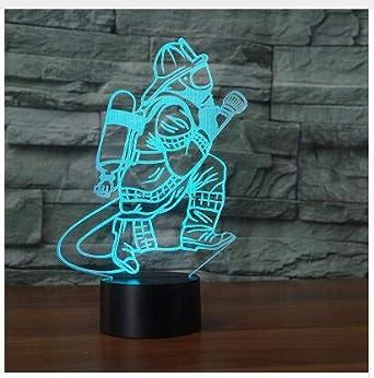3d Les Pompiers Led Lampes Art Deco Lampe La Couleur Changeant