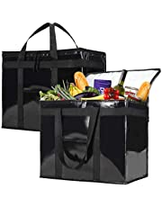 NZ Home Insulated Reusable Grocery Bags, Extra Large Soft Cooler, Foldable, Stands Upright, Sturdy Zipper