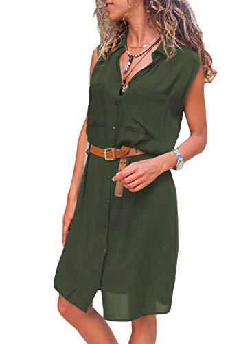 - Asvivid Womens Sleeveless V Neck Buttoned Pocket Loose Shirt Midi Dress Sundresses with Belt S Green