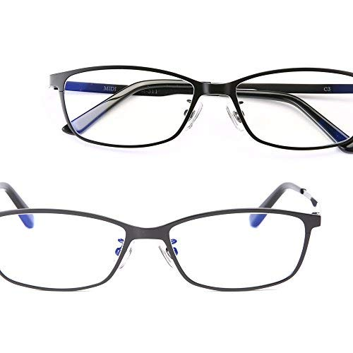 - MIDI Stylish Blue Light Blocking Reading Glasses for Men Made of Pure Titanium (M-311) Square and Wellington Shaped Reading Glasses with Blue Light Blocking Lenses (Black,+2.50)(m311c3-250)