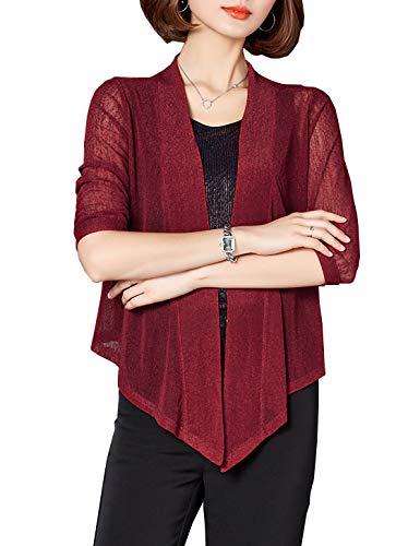 Bolero Jacket for Women Lace Long Sleeve Shrug for Dress(Wine Red,S)