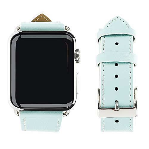 Apple Watch Band, top4cus Genuine Leather iwatch Strap Replacement Band with Stainless Metal Clasp for Apple Watch Series 3 Series 2 Series 1 Sport and Edition (38mm, Girl style - Blue)