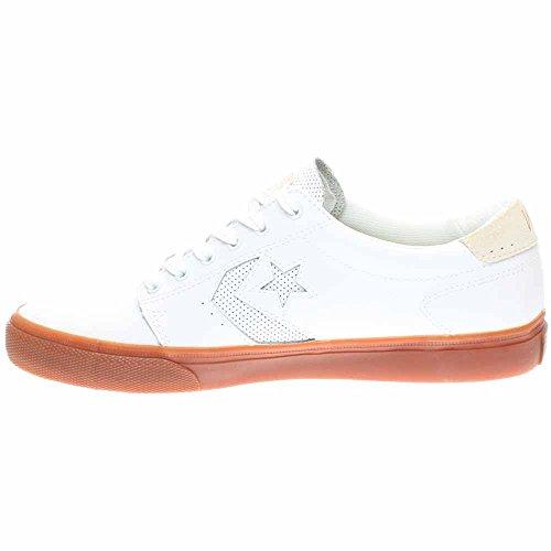 Converse Mens Ka3 Leather Ox Low Top Scarpe Da Skate Bianco / Gomma