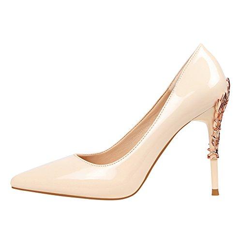 FLYRCX Frühling und Herbst einfarbig einfache einfache einfache Spitze Stiletto Heels Lackleder Mode Arbeitsschuhe Outdoor-Schuhe 19ba45